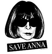 """Et svart-hvitt-bilde av hodet til Wintour med """"Save Anna"""" i hvitt på svart i et banner nedenfor."""