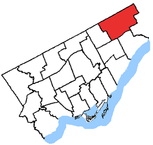 Scarborough—Rouge River (provincial electoral district) - Scarborough—Rouge River in relation to the other Toronto ridings