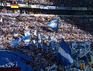 Revierderby - Fans of FC Schalke 04 at home in the Veltins-Arena in Gelsenkirchen