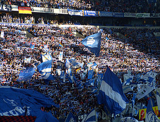 Revierderby - Fans of FC Schalke 04 at home in the Veltins-Arena in Gelsenkirchen