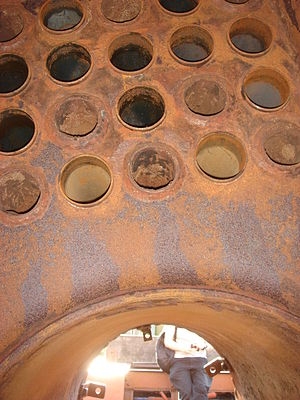 Scotch marine boiler - Inside the combustion chamber, looking up at the tubeplate