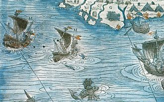Royal Scots Navy - A Scottish armed merchantman engaged in the Baltic trade is attacked by a Hanseatic ship. Detail from Carta marina, by Olaus Magnus.