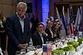 Secretary of Defense Chuck Hagel thanks Israeli Minister of Defense, Moshe Ya'alon, and Israeli military members for hosting an official dinner in Jerusalem, Israel, April 21, 2013.jpg