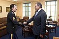 Secretary of Defense Leon E. Panetta greets Army Staff Sergeant Clinton Romesha, in his office at the Pentagon.jpg