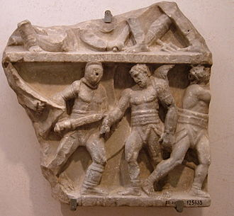 Retiarius - Relief showing a fight between a secutor and retiarius