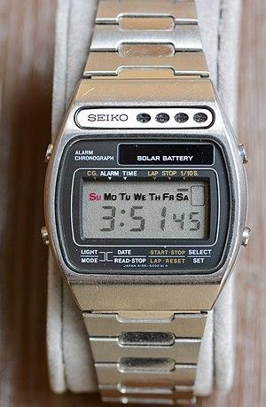 Solar-powered watch - Seiko LCD Solar Alarm Chronograph A156-5000, 1978: Seiko's first solar-powered watch