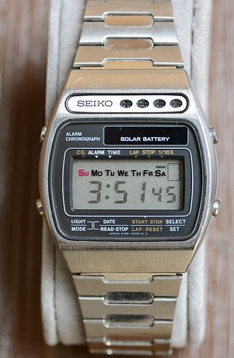 Seiko LCD Solar Alarm Chronograph A156-5000, 1978: Seiko's first solar-powered watch