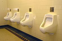 A typical arrangement of urinals, in a linear array, without partitions: a row of sensor operated fixtures provides for optimal traffic flow and throughput.