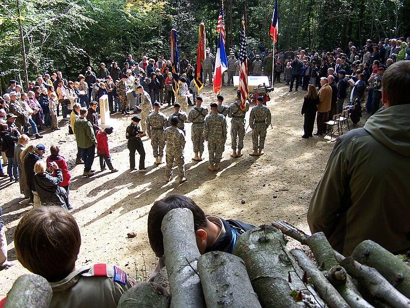 Einweihung des Denkmals für Sgt. York am 4. Oktober 2008 bei Chatel-Chéhéry