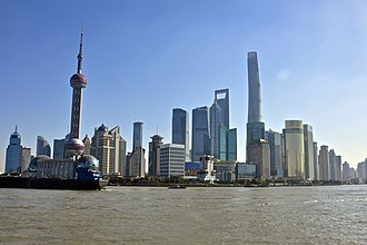 Chinese economic reform - The Lujiazui financial district of Pudong, Shanghai, the financial and commercial hub of modern China