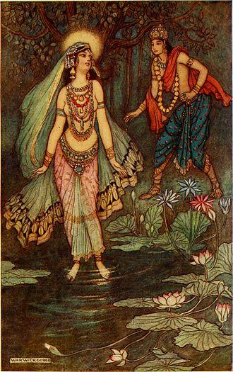 Shantanu - Shantanu Meets Goddess Ganga by Warwick Goble, 1913