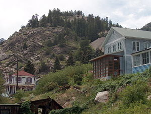 Silver Plume, Colorado - Homes dot a mountainside at Silver Plume, Colorado.