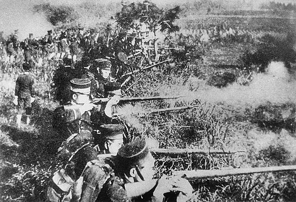 Japanese troops during the Sino-Japanese War. Sino Japanese war 1894.jpg