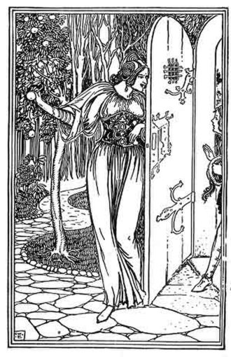 Little Saint Hugh of Lincoln - The Jew's daughter lures Hugh into her garden. Illustration to Sir Hugh by George Wharton Edwards