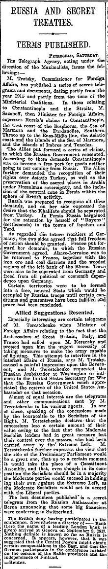 I termini dell'accordo, pubblicati dal Manchester Guardian il 26 novembre 1917