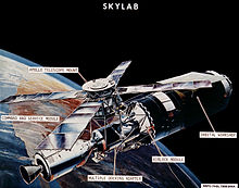 Skylab configuration with docked Apollo Command/Service Module. Click to enlarge.
