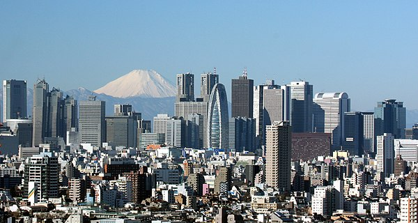 Skyline of Tokyo, the world's most populous metropolis, with Mount Fuji in the background