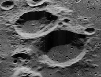 Smith (lunar crater) - Oblique Lunar Orbiter 5 image of Smith (upper left) and Scobee (lower right)