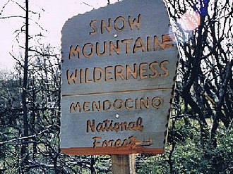 Snow Mountain Wilderness - Wilderness boundary sign at Bearwallow Trail (note burn area)