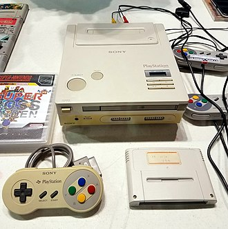 "The sole remaining prototype of Sony's original ""PlayStation"", a Super Nintendo with a CD-ROM drive Sony-playstation prototype.jpg"