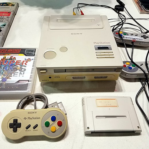 A photo of the only known SNES-based PlayStation prototype Sony-playstation prototype.jpg