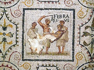 Februarius - Februarius panel from the 3rd-century mosaic of the months at El Djem, Tunisia (Roman Africa)