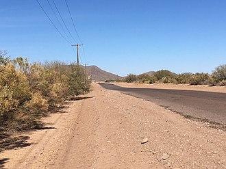 Arizona City, Arizona - Northerly view towards the Casa Grande Mountains along Henness Road in Arizona City.