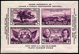 This US souvenir sheet of 1936, issued for the TIPEX exhibition, consists of four contemporary commemoratives, imperforate.