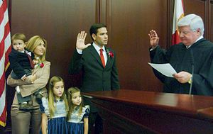 Jeanette Dousdebes Rubio - Florida House Speaker Rubio, Miami, officially sworn into office by Judge R. Fred Lewis, with Jeanette and the three oldest children at his side, in 2006