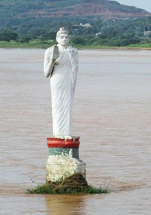 Srikakulam - Buddha statue in Nagavali river, Srikakulam