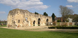 St Oswald's Priory, Gloucester - View of the ruins of the Priory from the south side.