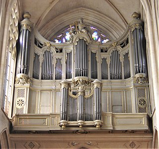 Pipe organ wind instrument that produces sound by driving pressurized air (called wind) through pipes selected via a keyboard