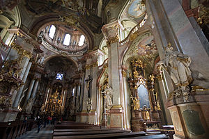 The interior of St. Nicholas Church in the Lesser Town of Prague, 1750s–1760s.