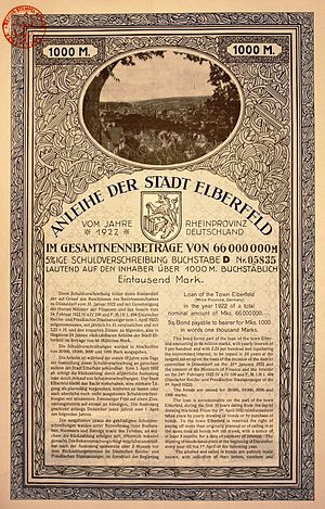 Elberfeld - Bond of the former town Elberfeld, issued 1. March 1922