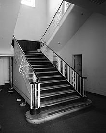 Staircase In Ford Plant In Los Angeles With Double Bullnose And Two  Volutes. An Intermediate Landing Is Part Of This U Shaped Stair.