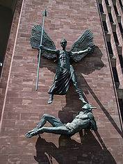 Statue of St Michael and Satan -Coventry Cathedral-5July2008.jpg