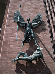 Statue of St Michael and Satan -Coventry Cathedral-5July2008