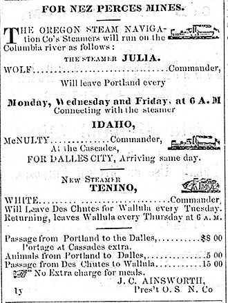Idaho (sidewheeler) - Advertisement for steamboats of the Oregon Steam Navigation Company, including Idaho on the middle Columbia