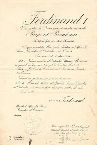 Order of the Star of Romania - Certificate confirming that the Star of Romania was awarded to Ernesto Burzagli in the name of King Ferdinand I.