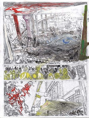 Stefan Ettlinger - Stefan Ettlinger, A Sichuan Ghost Story 07, 2014, 40 cm x 30 cm, coal and egg tempera on MDF-Fiberboard