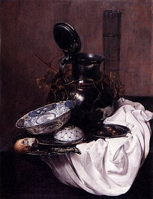 Jan Jansz. Treck - Still Life with drinking glass, wanli porselain, pewter jug, olives and napkin 1645, Museum of Fine Arts (Budapest)