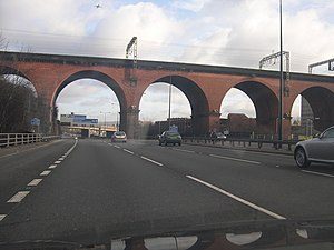M60 motorway - The M60 motorway as it passes beneath Stockport viaduct