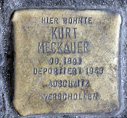 Photo of Kurt Meckauer brass plaque