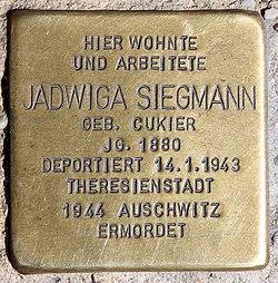 Photo of Jadwiga Siegmann brass plaque
