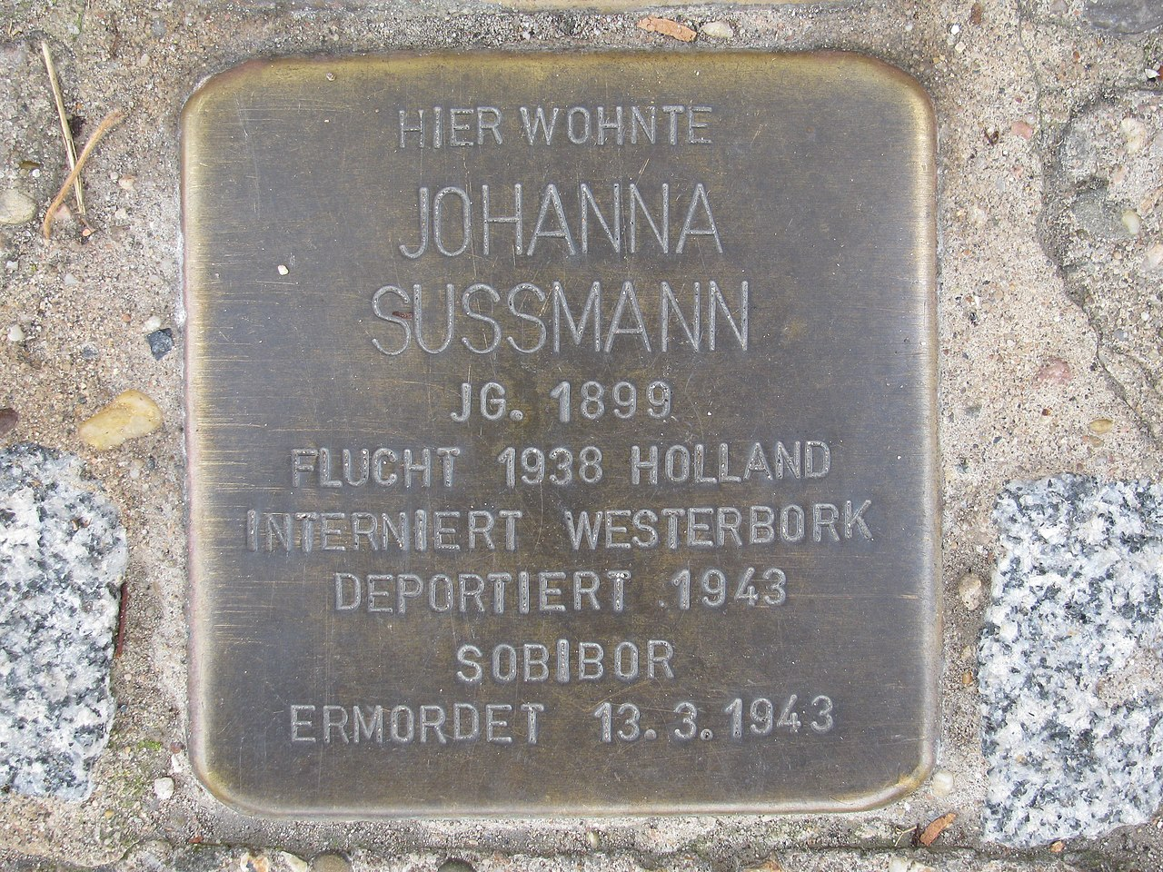 der Stolperstein für Johanna Sussmann