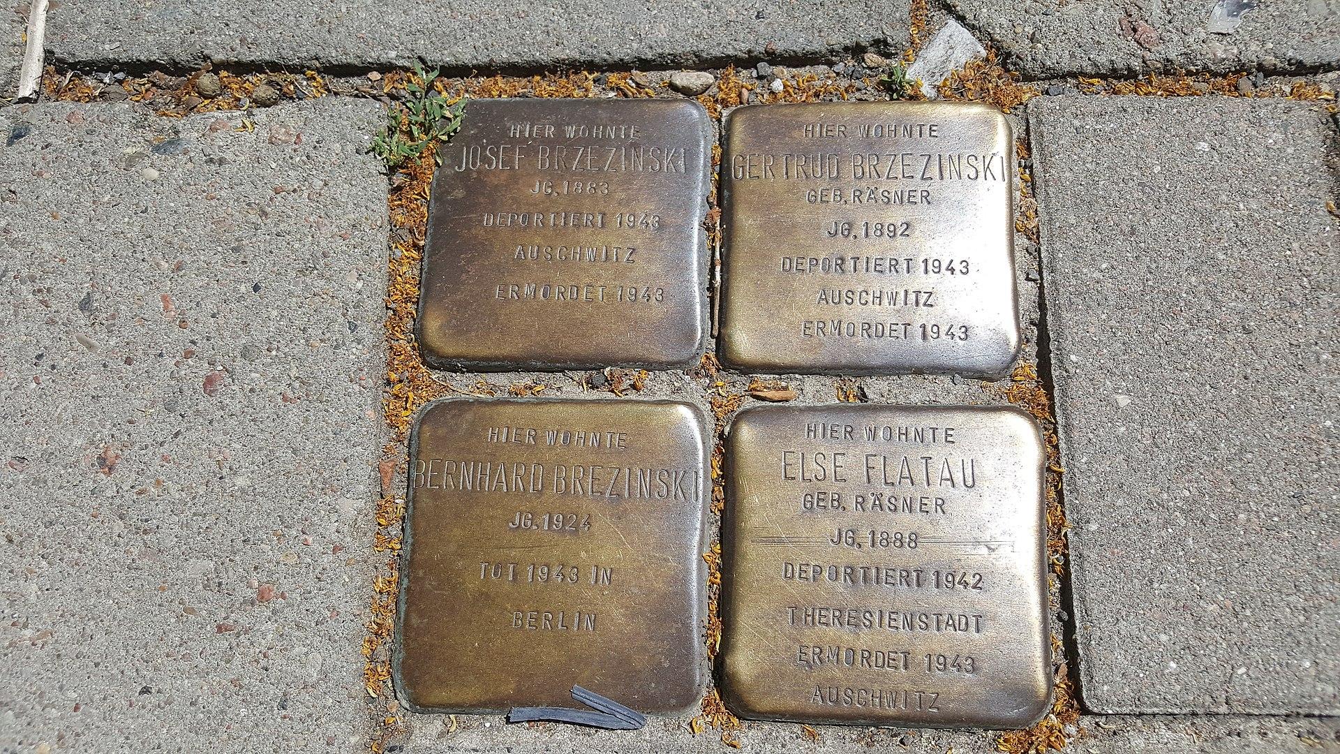 Stolperstein Josef,Gertrud,Bernhard Brezinski , Else Flatau.jpg