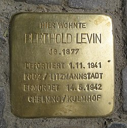 Photo of Berthold Levin brass plaque