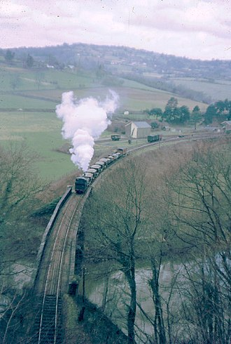 Wye Valley Railway - A Stone train in steam in 1963 leaving Tintern station.