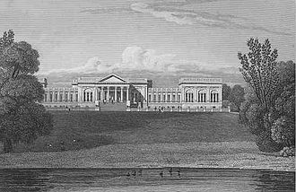 Stowe House - The south or garden front of Stowe from Jones' Views of the Seats of Noblemen and Gentlemen (1829). Apart from an increase in the size of some of the basement windows (which in this context means ground level, as the first floor is a piano nobile) the facade is unchanged today. All of the top floor windows in the earlier version of this front were sacrificed for the sake of architectural effect. The remaining top floor rooms all face sideways.