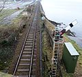 Stranraer Harbour railway station with signal and car loading ramp.jpg